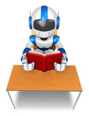 Blue robot character from the desk reading a book. Create 3D Hum — Stock Photo