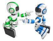 Modré robota a zelená robot čelí každý další bod prstem. cre — Stock fotografie