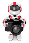 Red robot character the front to shoot the camera toward. Create — Foto de Stock