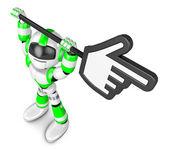 Green robot character holding up a big cursor. Create 3D Humanoi — Stock Photo