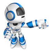 Blue robot character Punching to the right. Create 3D Humanoid R — Stock Photo