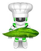 大きな葉を保持している緑のロボットの文字。3 d 作成ヒューマノイドを奪う — ストック写真