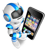 Blue Robot Character Big smartphone a touch. Create 3D Humanoid — Stock Photo