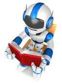 Blue robot character sitting on a chair reading a book. Create 3 — Stock Photo