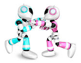 The pink robots and sky blue robot boxing matches. Create 3D Hum — Stock Photo