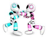 粉红机器人和天空蓝色机器人拳击比赛。创建 3d 嗡嗡声 — 图库照片