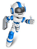 Blue robot character holding a briefcase is going to front Runni — Stock Photo