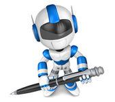 Blue robot Character ballpoint pen a handwriting. Create 3D Huma — Stock Photo