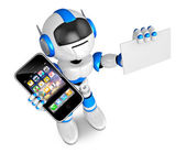 Blue robot character Smart Phone the left hand holding. business — Stock Photo