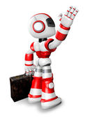 Wave down the Red robot character is carrying a bag. Create 3D H — Stock Photo