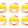 Various facial expressions of kids. Emotion Character Design Ser - Stock Vector