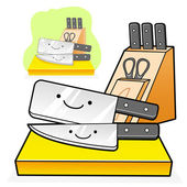 Various styles of knife and Sheath Sets. Kitchen utensils Vector — Stock Vector