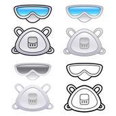 各种风格的面罩和护目镜。工业市场的项目 — 图库矢量图片