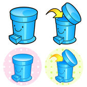 Various styles of Wastebasket Sets. Household Items Vector Icon — Stock Vector