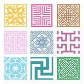 Plaid Symbol sets. Geometric Pattern Design. Korean traditional — Stock Vector