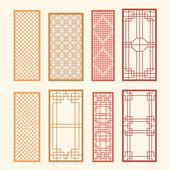 Korean old of Window Frame Symbol sets. Korean traditional Patte — Stock Vector