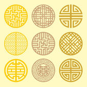 Round grid Symbol sets. Geometric Pattern Design. Korean traditi — Stok Vektör