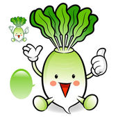 Daikon mascot the left hand guides and the right hand best gestu — Vettoriale Stock