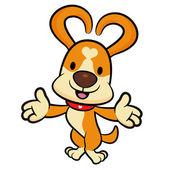 Köpek maskot her iki el ile kabul edilmiştir. hayvan charact — Stok Vektör