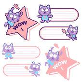 Flexibilidad posible a conjuntos de mascota gato. d carácter animal — Vector de stock