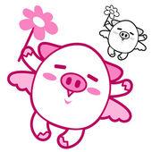 Maskotka świnia latający niebo. serii wzór znak zwierzę. — Wektor stockowy