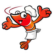 The Shrimp Chef mascot has been welcomed with both hands. Prawn — Stock Vector