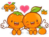 Tangerine and orange character couples are welcome to sit. Fruit — Stock Vector