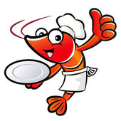 Chef Shrimp Mascot the Right hand best gesture and Left hand is — Stock Vector