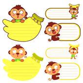 Souplesse possible un ensembles de mascotte singe. animaux calyso — Vecteur