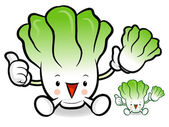 Napa cabbage characters to promote Vegetable selling. Vegetable — Stock Vector