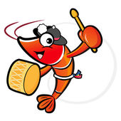 The Shrimp mascot playing the traditional music of Korea. Prawn — Stock Vector