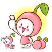 樱桃吉祥物的左手最佳姿态。水果字符设计 — 图库矢量图片