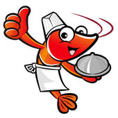 Cooks Shrimp Mascot the Left hand best gesture and Right hand is — Stock Vector