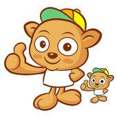 Tarsier Mascot the Left hand best gesture. Animal Character Desi — Stock Vector