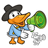Duck Mascot the right hand is holding a loudspeaker. Bird Charac — Stock Vector