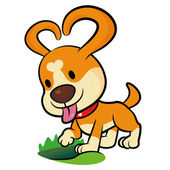The Puppy Mascot dug a hole in the ground. Animal Character Desi — Stock Vector