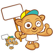Tarsier mascot the hand is holding a picket. Animal Character De — Stock Vector