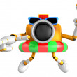 3d Yellow Camera Character dip tube ride. Create 3D Camera Robot — Stock Photo #26661831