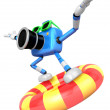 3d Blue Camera character surfing on lifebuoy. Create 3D Camera R — Stock Photo #26661887