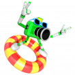3d green Camera character surfing on lifebuoy. Create 3D Camera — Stock Photo #26662055