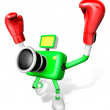 3d Green Camera Character Boxer Victory the serenade. Create 3D — ストック写真
