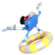 3d Blue Camera character surfing on lifebuoy. Create 3D Camera R — Stock Photo #26662267