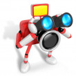 Stock Photo: 3D Red camerCharacter telescopes looking towards right. Cr