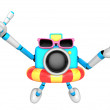 3d sky blue Camera Character dip tube ride. Create 3D Camera Rob — Stock Photo