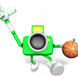 3D green camera character holding a basketball running. Create 3 — Stock Photo