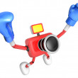 3d Red Camera Character Boxer Victory the serenade. Create 3D Ca — Stock fotografie