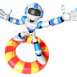 3d Blue robot character surfing on lifebuoy. Create 3D Humanoid — Stock Photo #26662535