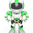 3D Green Robot cowboy is taking pose a gunfight. Create 3D Human — Stock Photo