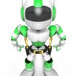 3D Green Robot cowboy is taking pose a gunfight. Create 3D Human — Stock Photo