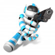 3D Cyan Robot fire an aimed shot a automatic pistol. Create 3D H — Stock Photo